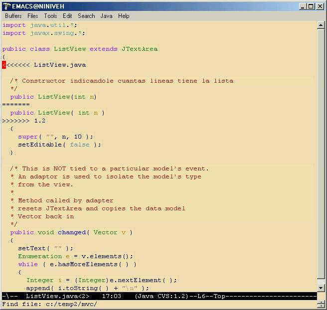 emacs editando el<br /><br /><br /><br /><br /><br />   archivo con las dos versiones.<br /><br /><br /><br /><br /><br />
